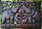 Art Carved Elephant Panel Sculpture Wall Hanging Solid Wood Handcraft Home Decor