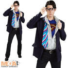 Clark Kent Mens Costume + Glasses Superman Adult Superhero Fancy Dress Outfit