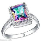 GIFT Women Fashion 18K Platinum Plated Quadrate Multicolour Gem Diamante Ring