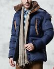 Mens Winter Thick Padded Jacket Fur Collar Hooded Down Cotton Ski Coat Outerwear