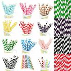 Внешний вид - 25/50/100pcs Biodegradable Paper Drinking Straws Striped Birthday Party KY