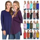 USA Women Casual Long Sleeve Scallop Hi-Lo Hem Tunic Top Scoop Neck Loose Fit