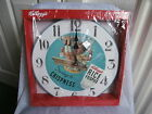 VINTAGE KELLOGG'S RICE CRISPIES 30cm ROUND WALL CLOCK A LITTLE GIRL ON A SWING