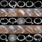 N Women Crystal Rhinestone 925 Silver Sterling Bangle Cuff Bracelet Jewelry Gift
