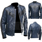 Mens Biker Vintage Motorcycle Cafe Racer Navy Real Leather Jacket