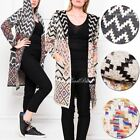 Womens Ladies Long Cardigan Hooded Top Warm Thick Knit Printed Blouse Coat Size