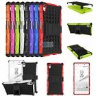 Hybrid ARMOR SHOCKPROOF KICKSTAND RUGGED RUBBER SOFT Case For Sony Xperia Phones