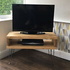 Solid Wood TV Stand - Rustic Wooden Pine Box Chunky Media Unit With Hairpin Legs
