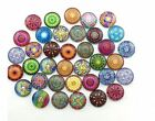 12mm Flatback Cameo Embroidery Mixed Spiral Style Round Glass Cabochon 50pcs
