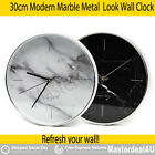 30cm Modern Marble Metal Look Wall Clock Glass Top White Black Xmas GIFT QUARTZ