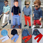 2pcs Toddler Kids Baby Boy Clothes Shirt Tops+Denim Jeans Pants Outfits Set Lot