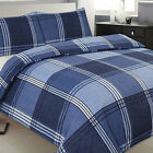 Hamilton Check Tartan Squares Duvet Quilt Cover Set, Denim Navy Blue