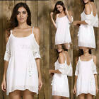 Women Loose Casual White Princess Party Cocktail Ladies Girls Short Mini Dress