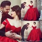 Red Gothic Ball Gown Wedding Dresses Long Custom Plus Size Bridal Gown 2-16