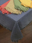 NEW Homespun Check Woven Cotton Reversible Tablecloth