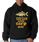 KEEP CALM AND CARP ON VERY BIG SIZE HOODIES 3/4/5XL BLACK