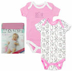 Girls Baby Pack of 2 Pink & All Over Cats Bodysuit Vests Newborn to 24 Months