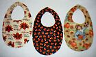 BABY BIBS~AUTUMN FALL DESIGNS~Fabric~Reversible~Washable~Lined~ Hidden Snap~NEW