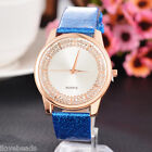 Fashion Women Rhinestone Sport Leather Quartz Analog Wristwatch Casual Watch