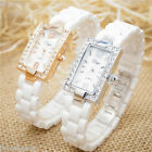 Fashion Womens Ceramic Watch Luxury Rhinestone Rectangle Dial Quartz Wristwatch