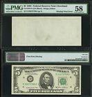 $5 1985=FRN=BLANK BACK=MISSING PRINT ERROR==PMG CHOICE ABOUT UNC. 58