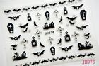 Nail Art Stickers 3D Decal Silver Halloween Bats Cat Witch Coffin Spiders Cobweb