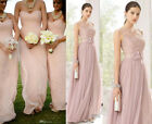 Long Evening Party Gown Bridesmaid Prom Sleeveless Lace Cocktail Chiffon Dress