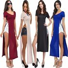 Ladies Womens Long SLIT Dress High Side SPLIT MIDI Tunic TOP Short Sleeves MAXI