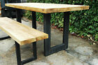 Vintage Industrial Table and Bench Set Metal Frame with Rustic Chunky Top