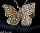 "3 D Butterfly Statement Necklace With A/B Crystal Accents Sophia 24"" Metal Alloy"