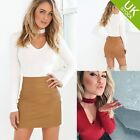 Ladies 2Pcs Dress Sets Long Sleeve Shirt Attached neckstrap+mini Leather Skirt
