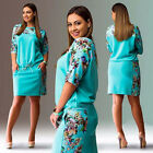 Women Round Neck Mid-Sleeve Casual Loose Cocktail Dress Party Evening Plus Size