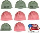 Military Polar Fleece Laser Etched Beanie Hat Cap Army Navy Marines, Air Force
