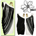Womens Ladies One Off Shoulder 3 Gold Strap Chiffon Layered Short Party Dress