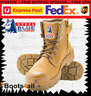Steel Blue Work Boots Argyle 332152 Wheat Steel Toe Lace Up Zip Sided Bump Cap