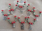 Christmas Wine Glass Charms / Napkin Rings Set of 6 8 10 or 12 Red & Green