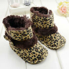 Hot Warm Baby Girls Bowknot Leopard Snow Fur Toddler Boots Crib Shoes