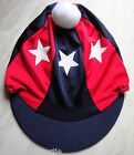 Riding Hat Silk Skull cap Cover NAVY BLUE & RED  WHITE STARS With OR w/o Pompom