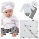Carnival Kids Baby Boy Girl Party Cook Chef Costume Tops+Pants+Hat Set Outfits