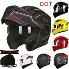Motorcycle Dual Visor Flip up Modular Full Face Helmet DOT Approved 6 Colors