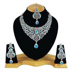 Silver Plated Handmade Zerconic Designer Party Wear & Bridal Necklace Set
