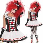 Ladies Harlequin Honey Costume Clown Fancy Dress Halloween Jester Womens Outfit