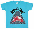Boys Chainstore King of The Sea Shark Cotton Crew Neck T-Shirt Top 2 to 8 Years