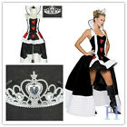 UK Ladies Cosplay Fairytale Queen Of Hearts Fancy Dress Costume Book Week Outfit