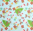 CHRISTMAS WISHES  SANTA RUDOLPH TREES QUILT SEWING CRAFT FABRIC Free Oz Post