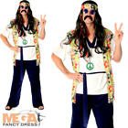 Cool Hippie Guy Mens Fancy Dress 1960s 70s Groovy Adults Hippy Costume Outfit