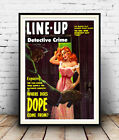 Line up : old Detective crime book cover poster, Reproduction poster, Wall art.