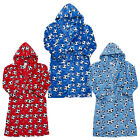 Boys All Over Football Print Fleece Hooded Dressing Gown Bathrobe 7 to 13 Years