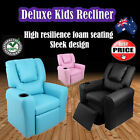 Deluxe Leather Kids Childrens Recliner Lounge Entertainment Theatre Armchair