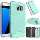 For Samsung Galaxy S7 &S7 Edge Phone Case Kickstand Credit Card Hard Armor Cover